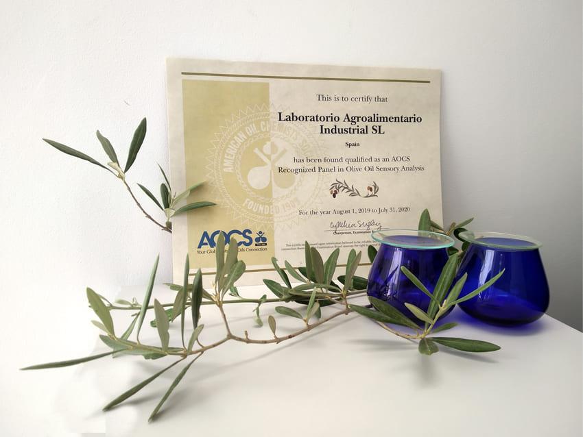 Diploma que acredita el reconocimiento del panel test de Indlab por la AOCS